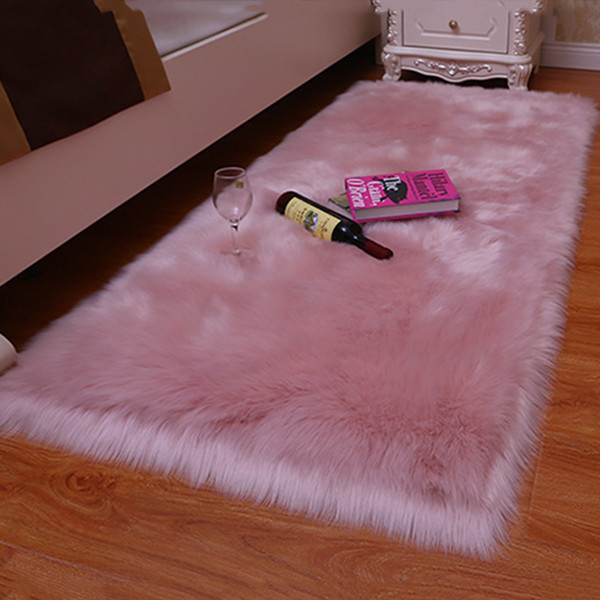1PC High Quality 7 Colors Super Soft Pure Blanket Kitchen Bed Shiny Sheepskin Washable Rugs Faux Fur Mats Wool Carpet Washable