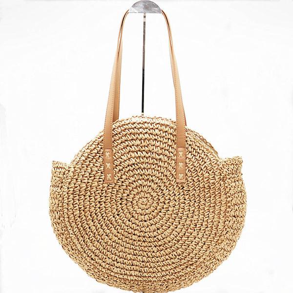 Handmade Rattan Woven Round Handbag Summer Straw Large Woven Bag Purse For Women Vocation Tote Beach Handbags