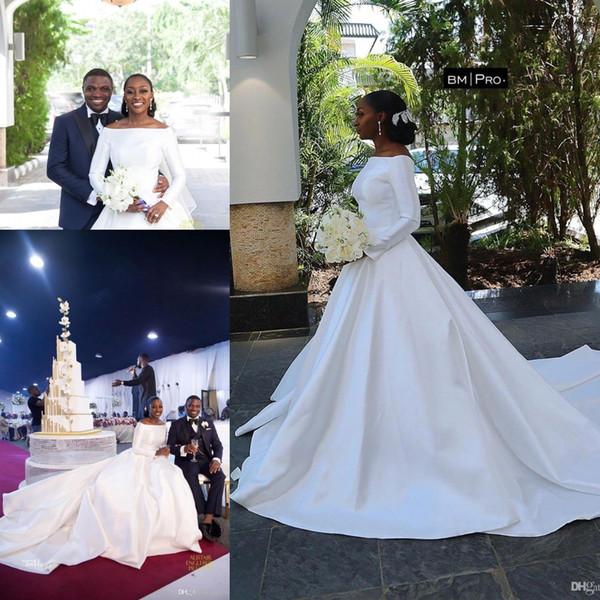 African Arabic Black Girls A Line Satin Long Wedding Dresses 2020 New Portrait Neckline Long Sleeves Bridal Gowns Long Court Train BC2296