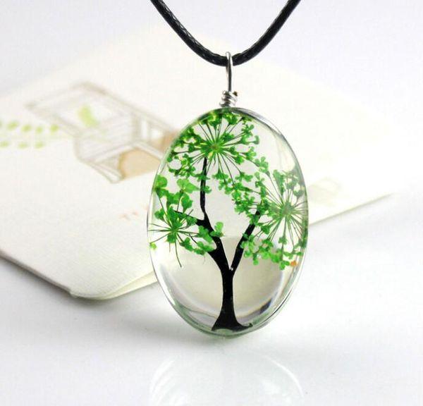 Dhl baum des lebens ovale form anhänger halsketten handgemachte bernstein glas pflanze halskette für frauen modeschmuck halskette n1