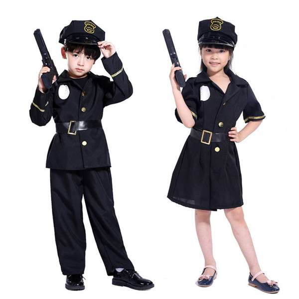 Police Officer Kids Fancy Dress Policeman Cop Uniform Boys Girls Costume Outfit