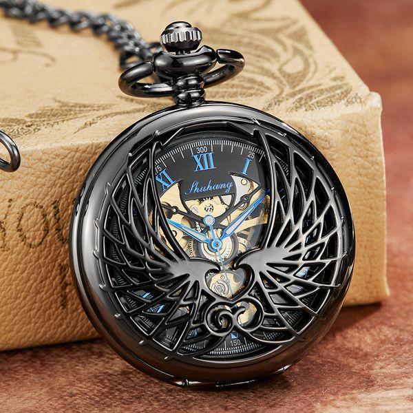 Mechanical Pocket Watch with Chain Angel Wings Hollow Hand Winding Pendant Clock Men Women Bronze Black Flip Fob Watches