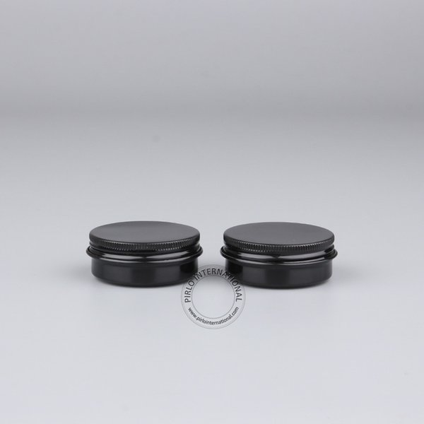 Atacado Excelente 30g de alumínio preto Jar, 30ml / Metal Cosmetic Containers, 50pcs / lot frete grátis vazio 1 onça