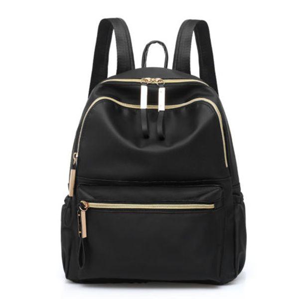 Women Ladies Small Durable Oxford Backpack Black Joker Zipper Rucksack Girls School Bag Portable Outdoor Travel Casual Bag