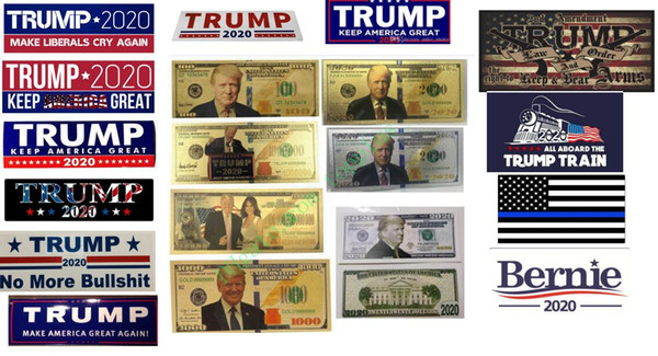 best selling 7 types new arrival Antique Plated 24K Gold Plated Dollars Trump 2020 Banknote trump Dollars Gold Banknot coins Commemorative Fake Money