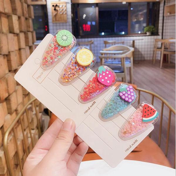 Nouveau design Enfants fruits épingle à cheveux coloré sable PVC bb fraise myrtille transparent cheveux clip enfants chapeaux