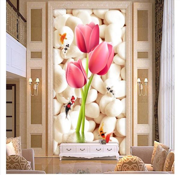 3D обои на заказ фото шелк фреска обои 3D стерео камень тюльпан крыльцо проход фон фреска декоративные наклейки Papel де parede