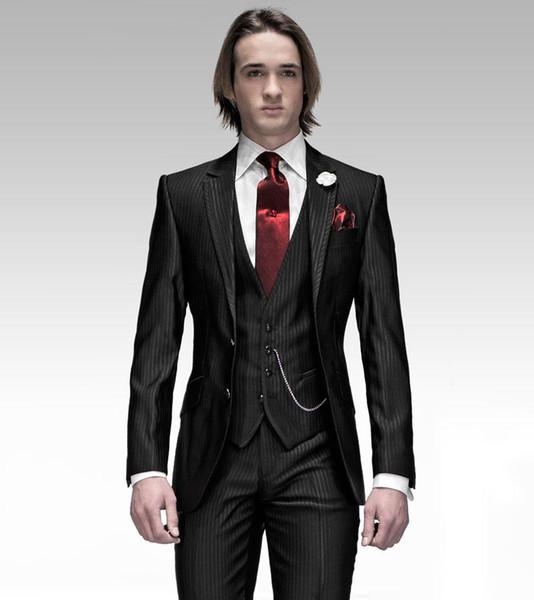Smoking dello sposo nuovo di zecca nero con Groomsmen a strisce Notch Risvolto Vestito da uomo migliore Abiti da sposa / uomo Bridegroom (Jacket + Pants + Vest + Tie) A232