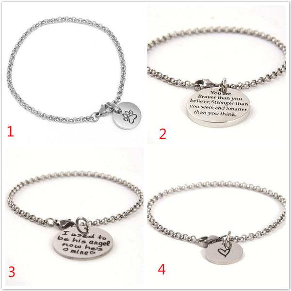 Hundepfote Herz Elastic Beads Edelstahl Armbänder Sie sind mutiger, dann glauben Sie, Armband, das ich früher sein Engel Schmuck war