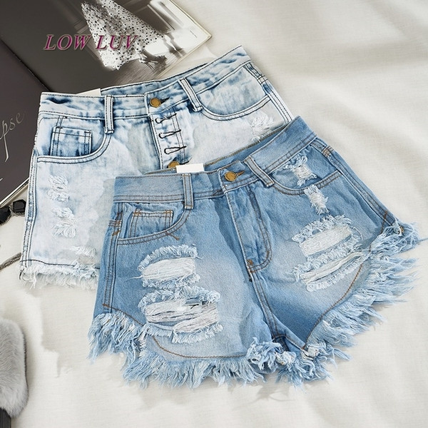 Fashion Short Jeans 2017 Summer Women High Waist Denim Shorts Frayed Hole Female Super Cool Flash Shorts S19713