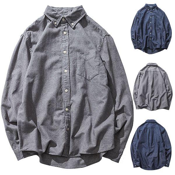 Feitong 2019 do outono Mais de Men Tamanho Baggy Sólidos Algodão Linho manga comprida Botão bolso camiseta camisa masculina Camisas hombre