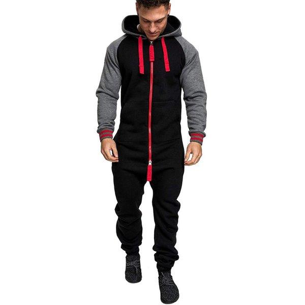 Homens com capuz além de veludo de uma peça camisola cor combinando personalidade Europeia e Americana macacão sportswear Fitness