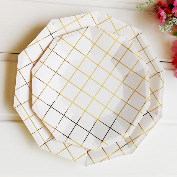 Piatti di carta usa e getta Griglia delicata Lamina d'oro Festa di compleanno Piatto usa e getta Piatto di frutta Vassoio di torta Servizio da tavola Compleanno