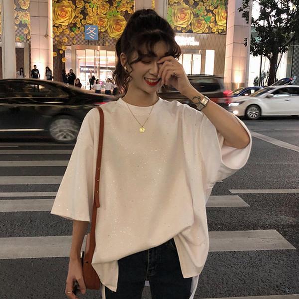 harajuku T-shirt long à manches demi-manches et à manches longues 2019 Eté femmes coréennes solide asymétrie T-shirts ulzzang Loose Female top blanc