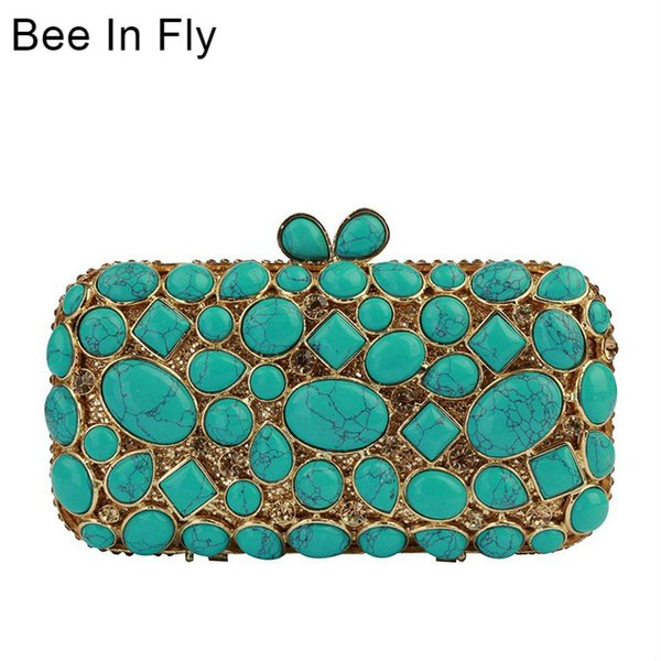 Bee In Fly Women Clutch Purse Evening Bag Clutches Luxury Blue Turquoise Agate Stone Crystal Minaudiere Bag Wedding Handbag