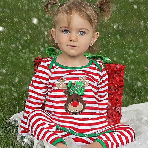 top popular Newborn Baby girl Toddler Christmas fesitival Infant long-sleeved animal cartoon striped romper jumpsuit 2020