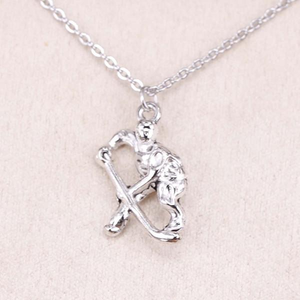 New Fashion Tibetan Silver Pendant hockey player sporter 25*16mm Choker Charm Short Long DIY Necklace Factory Price Handmade Jewelry
