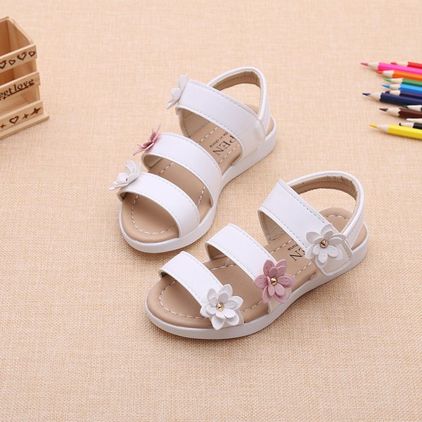 Girls Sandals Three Flowers Roman Shoes Tide Summer 2019 New Korean Childrens Beach Shoes Baby Childrens