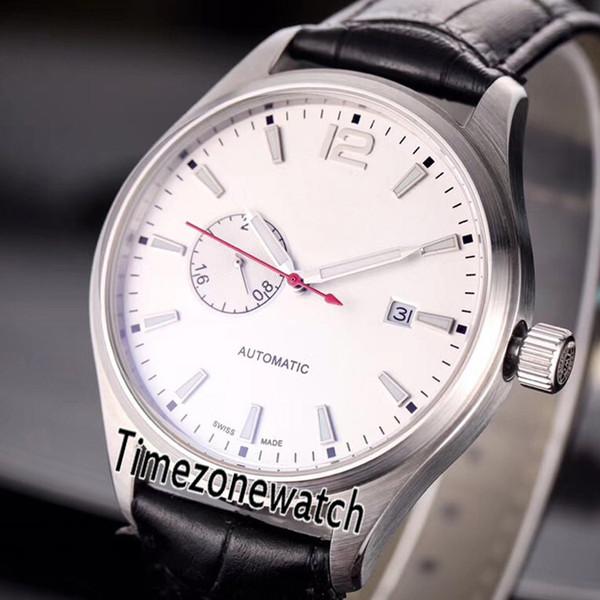 Novo IW524202 Aço Caso 40mm Mostrador Branco Japão Miyota 8217 Automático Mens Watch Black Leather 4 Cores Relógios Baratos Para Timezonewatch E18a1