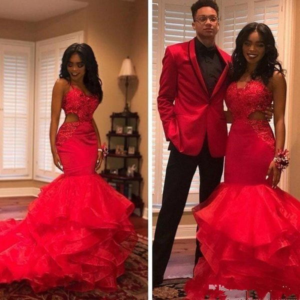 2019 Hot Red African Black Girls Prom Dresses Organza Tiered Cutaway Side Lace Applique Beaded Mermaid Evening Gowns Party Vestidos