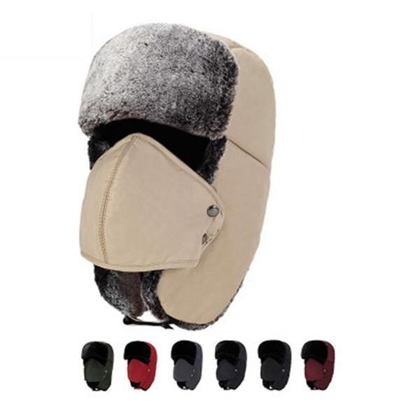 Chapeaux de trappeur en gros-hiver avec oreille rabats Ushanka aviator russe chapeau d'hiver en plein air chapeau chaud ski sport coupe-vent cap 7 couleurs ZZA900