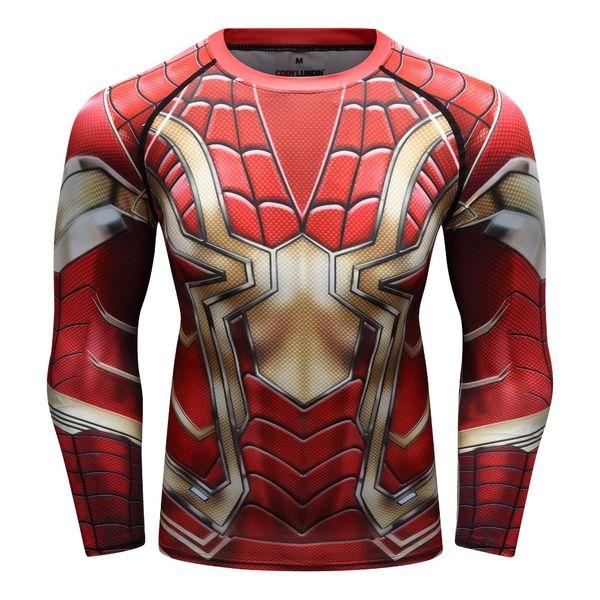 Nueva camiseta de impresión 3D de Spider Venom Camisa de compresión para hombre Camiseta de fitness de manga larga Tops de crossfit para hombre Levantamiento de pesasBotto
