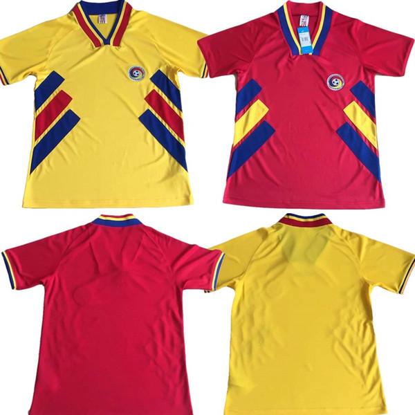 Ретро-издание 1994 года, Румыния, футбол, Кубок мира 1994 года, Чемпионат мира по футболу, Румыния, Дом Красного 6 CHIRICHES 10 MAXIM Футбольная футболка в гостях, желтый # 9 RADUCIOIU Footbal