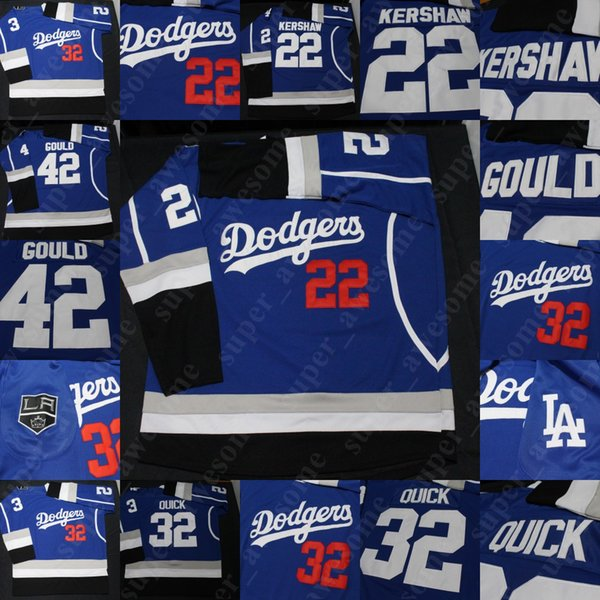 Los Angeles reis LA Dodgers Warmup Jerseys Drew Doughty Jonathan Rápida Anze Kopitar Jeff Carter Clayton Kershaw Sandy Koufax Azul Branco