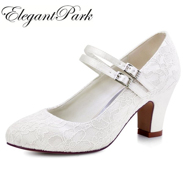 Women Wedding shoes White Ivory bride Mary Jane High heel Block Pumps lace Satin Prom Party Bridal shoes for woman HC1708
