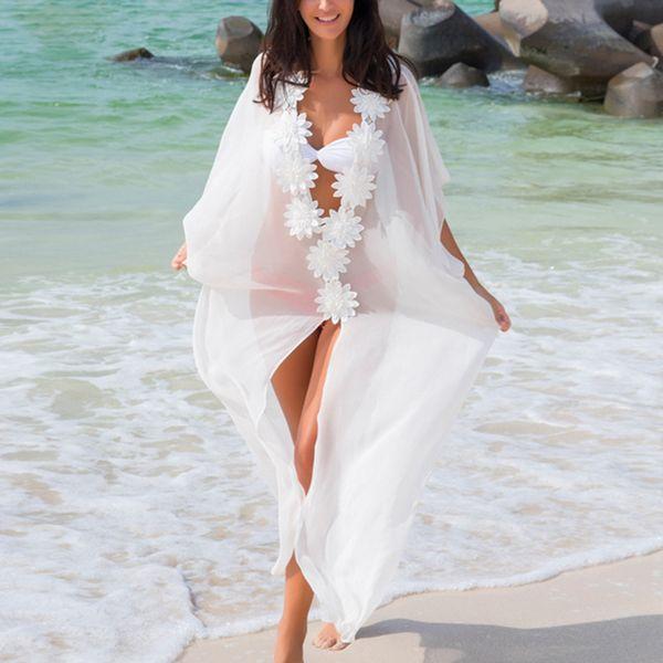 Dress Beach Cover up Dress Lace Beach Tunic Pareos Swimwear Women 2018 Bikini Cover up Chiffon Swimsuit Cover up White Black T190612