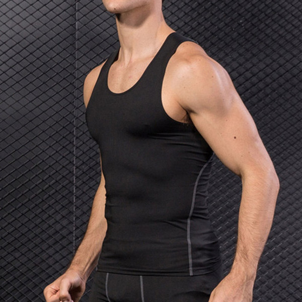 2019 men compression base layer sleeveless vest tank quick-drying sports gym under shirt lf88 thumbnail