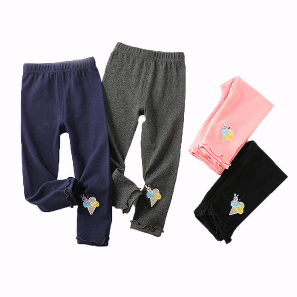 Kids Girl Leggings Children Elastic Casual Pants Easter Day Trousers Cartoon Rabbit Embroidery Solid Lace Trouser Leg 6