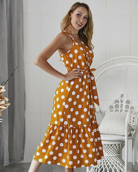 6b9a7ff1f2a Designer Polka Dot Printed Printed V Neck Vintage Dresses Sexy Ladies  Condole belt Dresses Designer Sleeveless