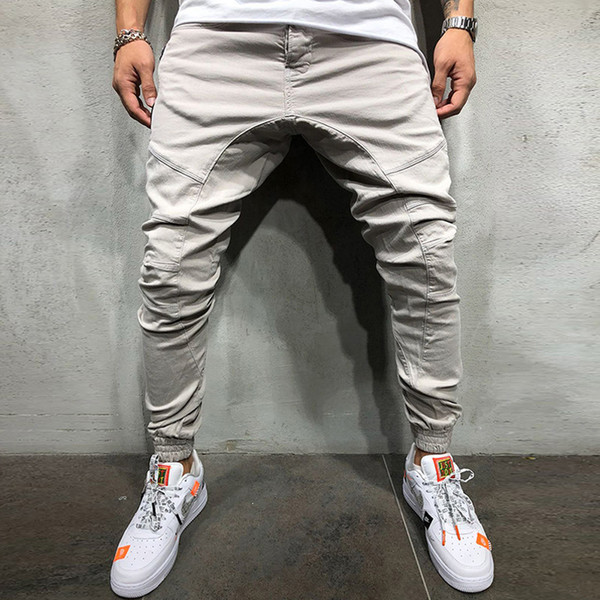 top popular 2019 new fashion Men's overalls fitness territory new pure color loose men's multi-pocket overalls pants gym pants 2019