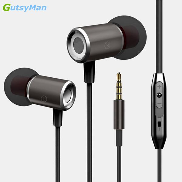 GutsyMan GM07 Kulak Kulaklık Kulaklık Manyetik Netlik Stereo Ses iPhone6 7 8 Için Mic Kulaklık Ile Cep Telefonu MP3 MP4 Mi5