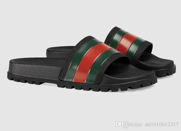2019 Designer Hommes Femmes Sandales De Luxe Slide D'été Mode À La Mode Slipper-Slipper Sandales Slipper Avec Boîte Rouge Vert Rayures En Caoutchouc Flip Flop