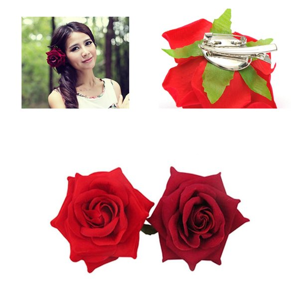 New Hot 2 Color Hair Clip DIY Headdress Hair Accessories For Bridal Wedding Velvet Red Rose Flower Hairpin Clip Tools