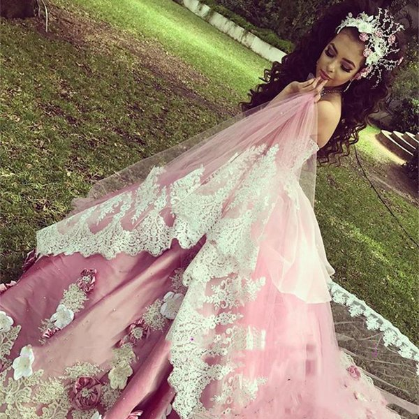 Luxury Pink Ball Gown Quinceanera Dresses With Detachable Train Lace Applique Hand Made Flowers Floral Formal Prom Party Gown
