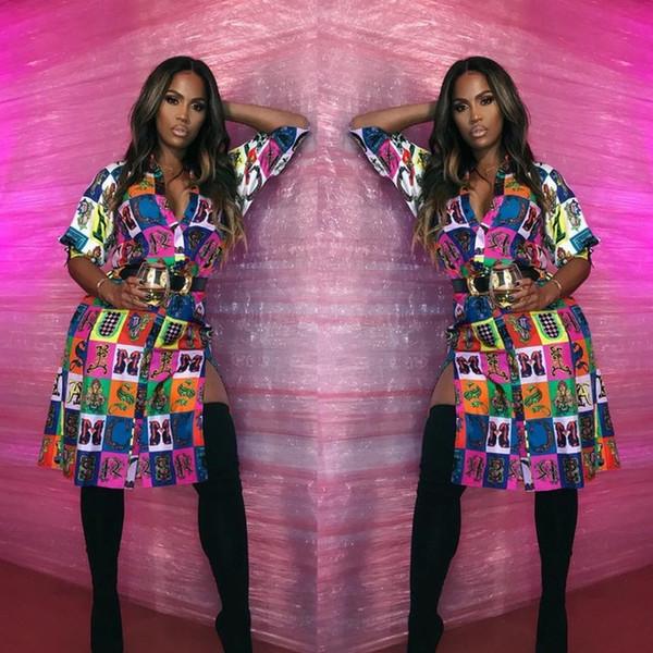 New Arrival Side Split Irregular Dress Women Button Up Three Quarter Sleeve Shirt Dress Spring Novelty Print Party Dress