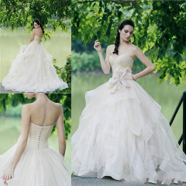 Обнаженный Цвет Милая Свадебные Платья 2018 Лето Многоуровневое Бальное Платье Свадебные Платья Покрыты Кнопки Бисером Свадебное Платье Индивидуальные