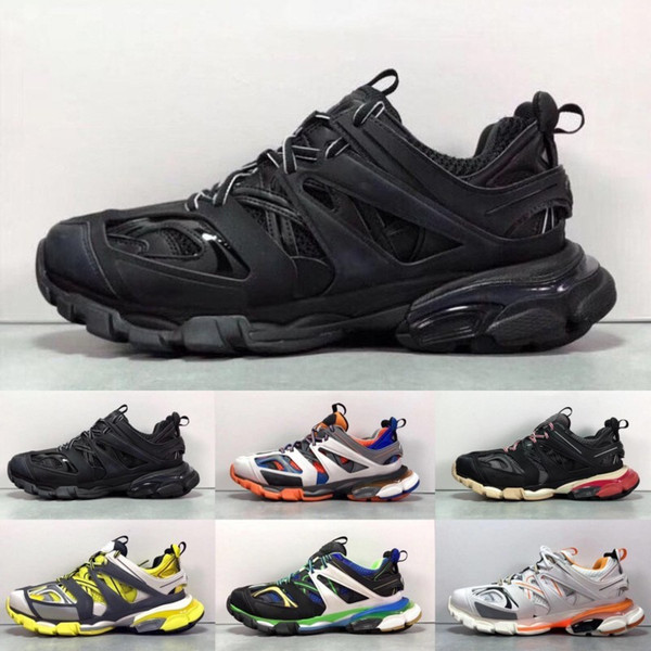 with box paris triple s track 3.0 orange yellow men women running shoes platform sports sneakers tess s. gomma trek mens trainers