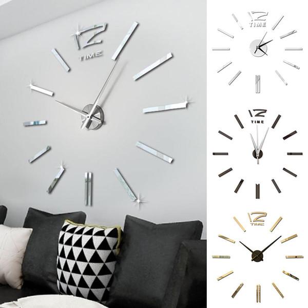 Design moderno mini fai da te grande parete-orologio regalo di Natale Decor Sticker Mute Digital 3D parete Grande Orologio Soggiorno Home Office