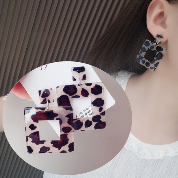 Big Geometric Square Leopard Drop Earrings for Women Classic Europe Style Party Hanging Dangle Earings Statement Jewlery Gifts