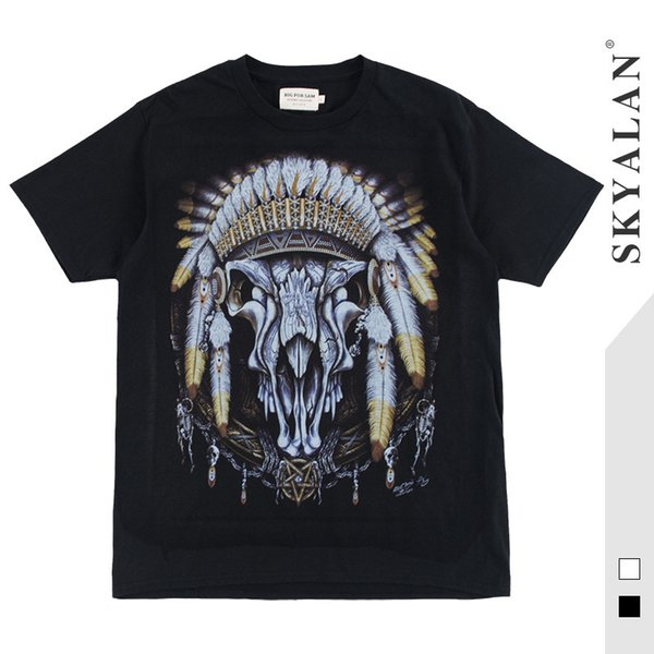 Cool2019 Indian Skyalan19ss Chief Manga corta T Pity Hombres y mujeres High Arcade Car Hip-hop Media manga Rendering