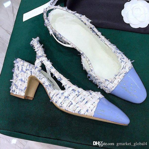 Hot New women Slingbacks Tweed Lambskin Luxury Designer Shoes G31318 Y53283 K1489 Sandalias de mujer de calidad superior 5 colores Tamaño 35-40