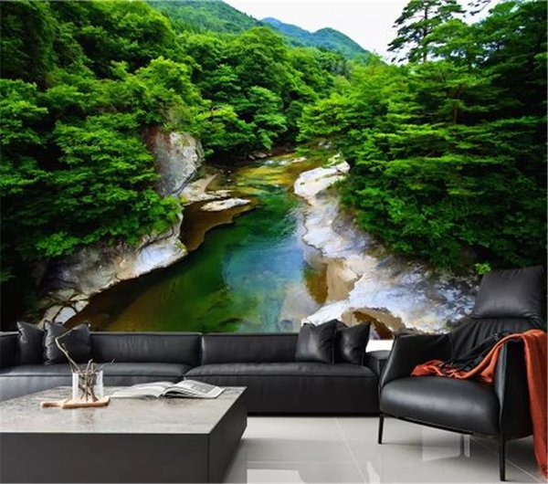 3d Wallpaper Qingshan Green Water River Huge Oil Painting Living Room Bedroom Background Wall Decoration Wallpaper