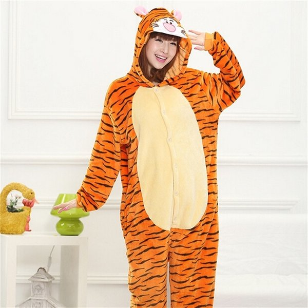 Tiger Kigurumi Unicorn Onesie Adult Teenagers Women Pijama Pajamas Funny Flannel Warm Soft Sleepwear Overall Onepiece JumpsuitMX190822