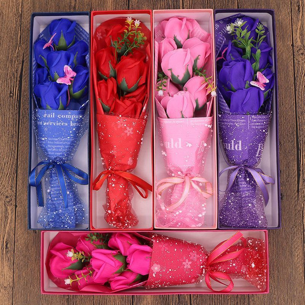 Valentines Day present 7 PCS Soap Flower Gifted Box Fragrant Artificial Rose Decent Birthday Wedding Party Gift Wholesale Decorative Flowers