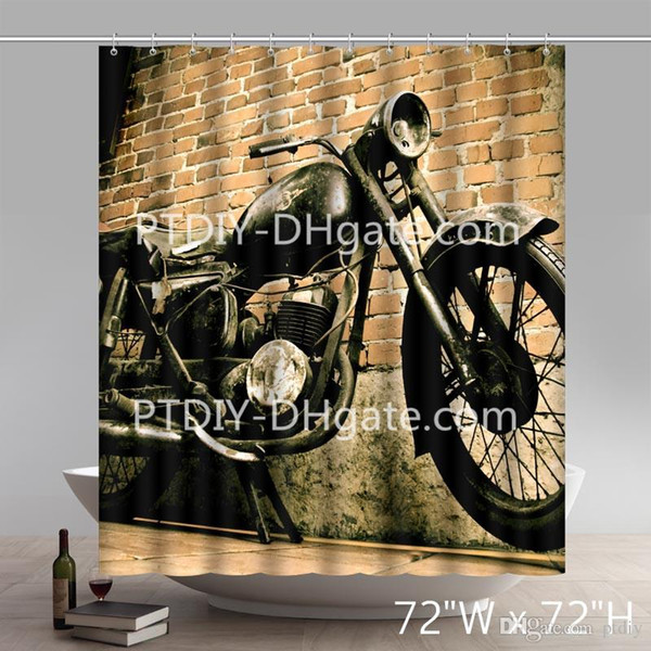 Professional DIY Unique Vintage Motorcycle and House Custom Design Waterproof Shower Curtain Bathroom Curtains