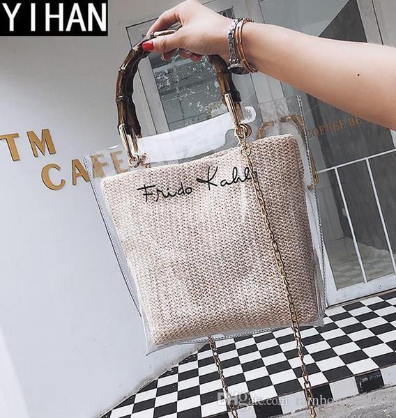wholesale brand handbags fashion sequins women bamboo bag summer new straw transparent jelly bag large-capacity open transparent beach bag